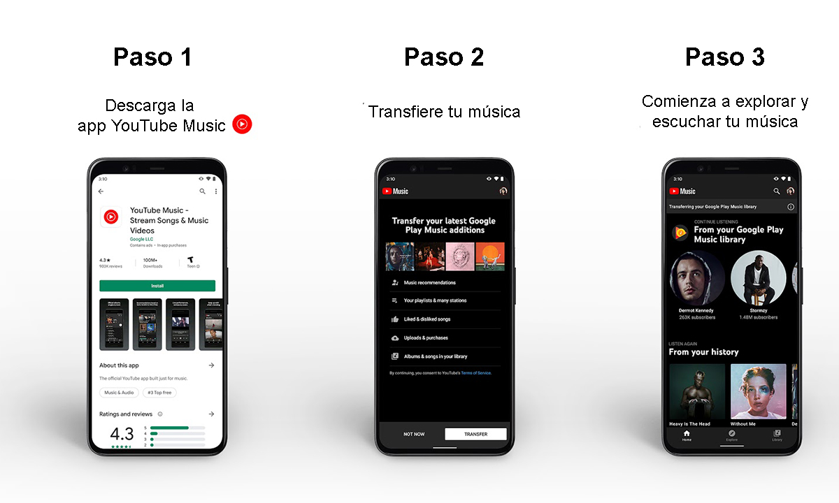 Cómo transferir tu música de Google Play Music a YouTube Music