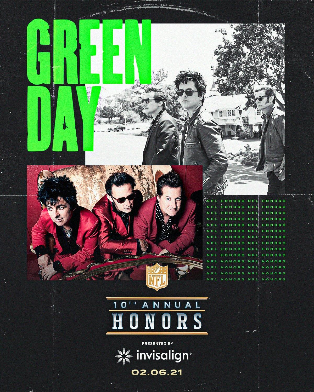 Green Day amenizará el décimo programa de NFL Honors