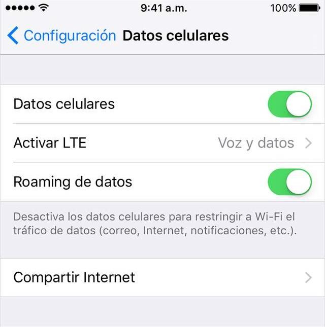 """Screenshot del menú """"Datos celulares"""""""