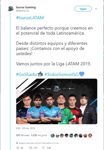 Isurus Gaming anuncia alineación en Twitter.