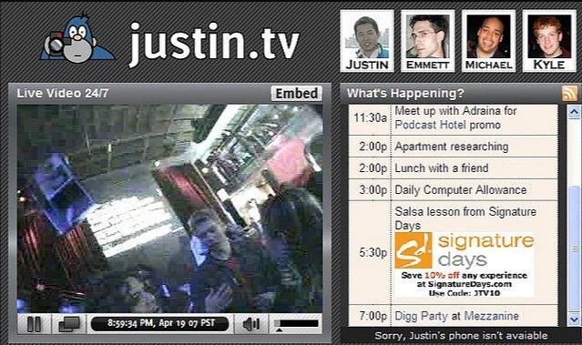 Interfaz de Justin.tv