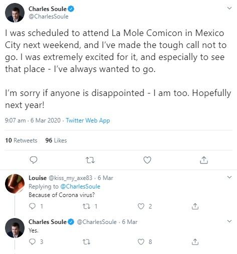 Charles Soule cancela su visita a La Mole 2020.
