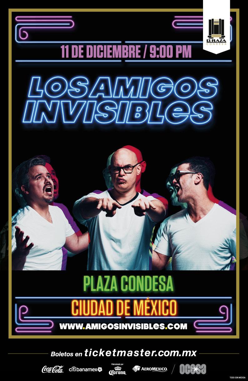 Póster Los Amigos Invisibles en el Plaza Condesa el 11 de diciembre