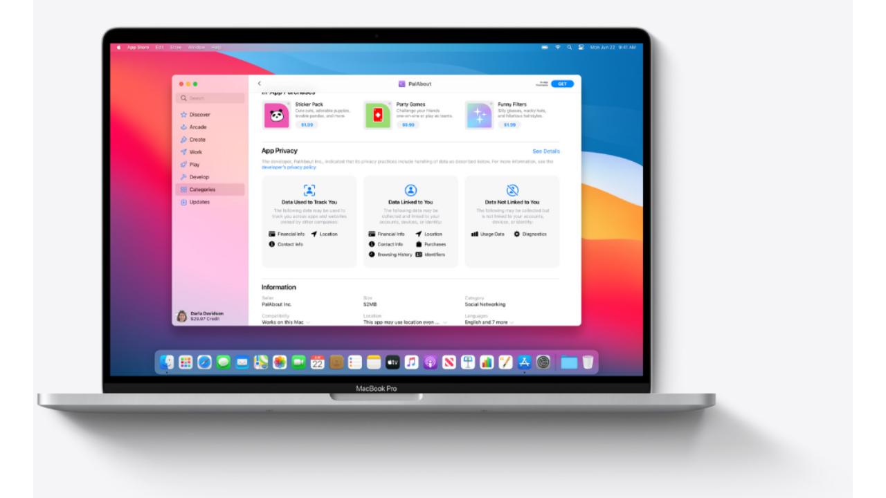 macOS 11 Big Sur ofrece información de privacidad con cada descarga de aplicaciones desde App Store