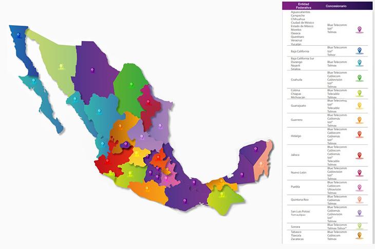 Mapa de cobertura Blue Telecomm