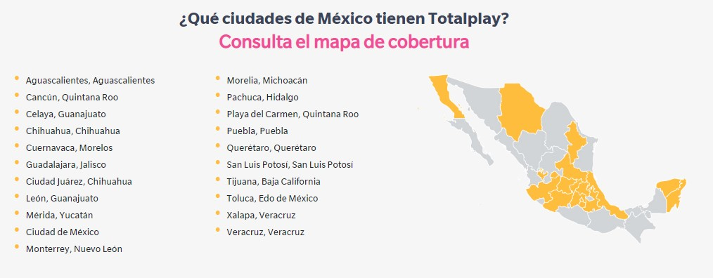 Mapa cobertura Totalplay
