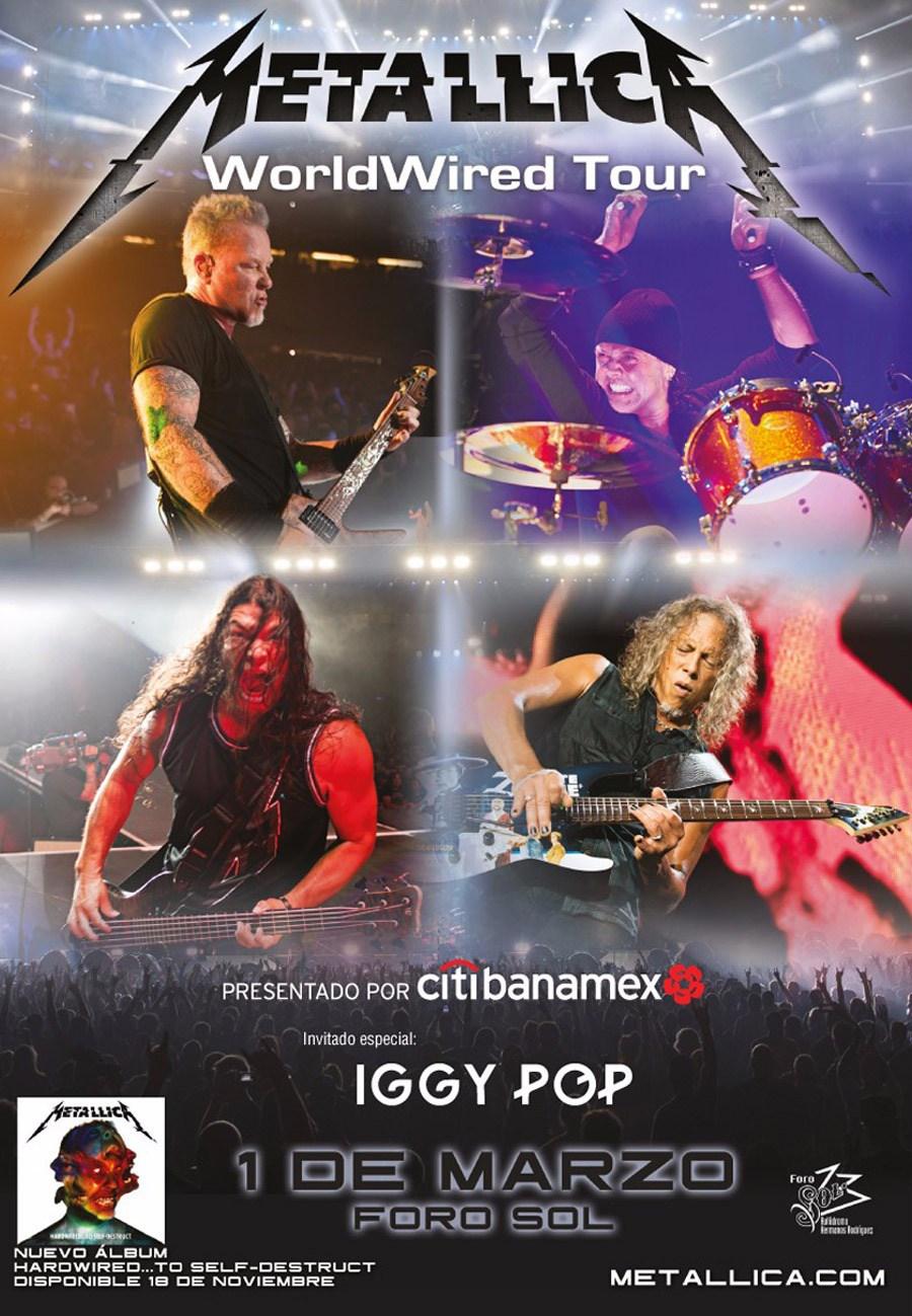 Póster oficial del concierto de Metallica en México
