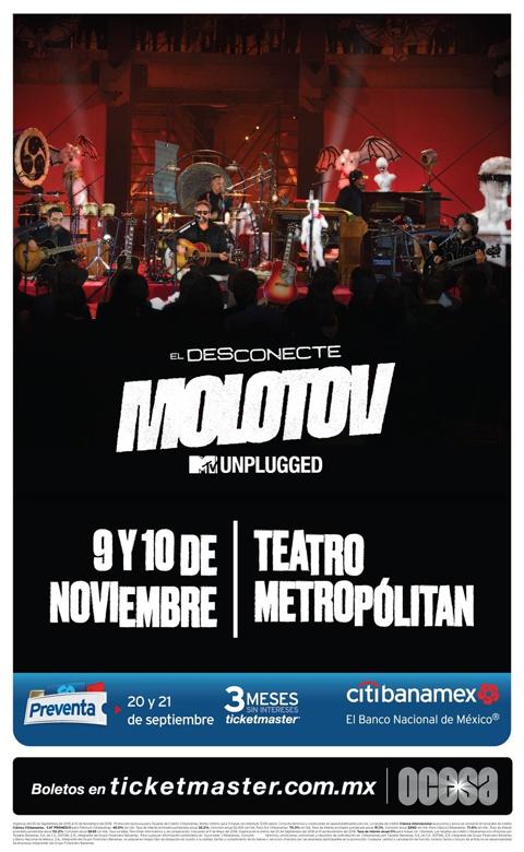 Molotov Desconecte Unplugged Metropólitan 9 y 10 de noviembre