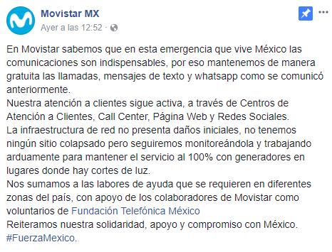 Comunicado ayuda Movistar