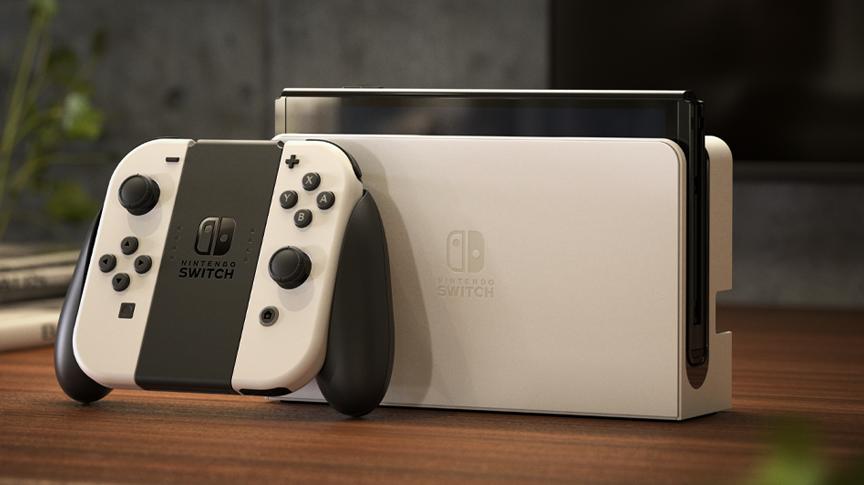 Nintendo Switch OLED incluye nueva base con puerto LAN por cable.