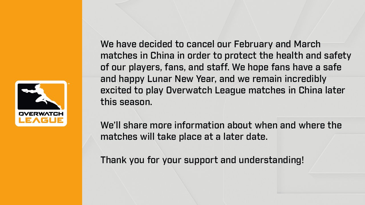 Comunicado Overwatch League