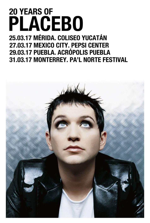 Póster oficial de la gira de Placebo en México