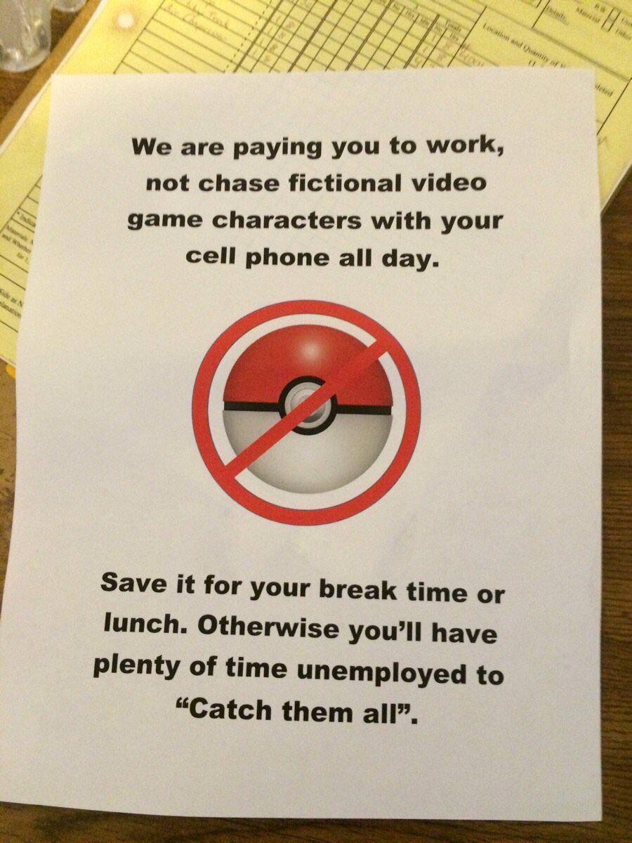 Letrero de NO jugar Pokémon Go