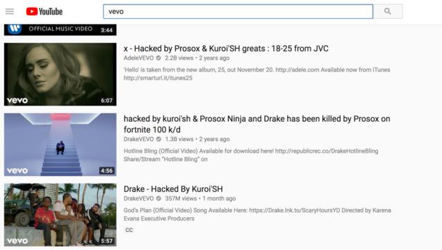 Videos de Vevo Hackeados