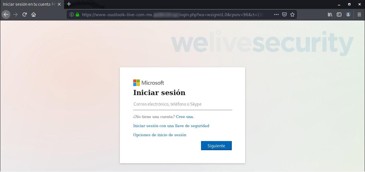 Sitio de phishing con certificado de seguridad y URL homográfica.