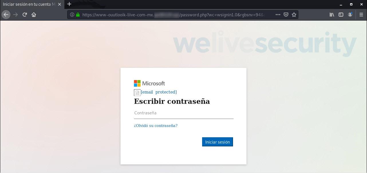 Solicitud de la contraseña del usuario en el sitio de phishing