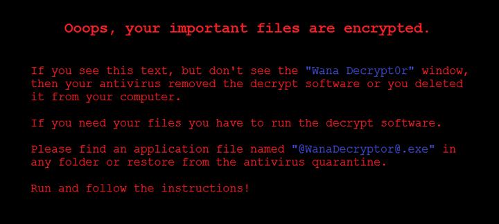 Mensaje del virus WannaCry