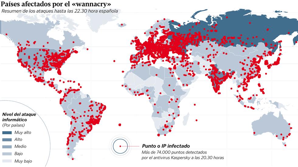 Mapa del ataque WannaCry