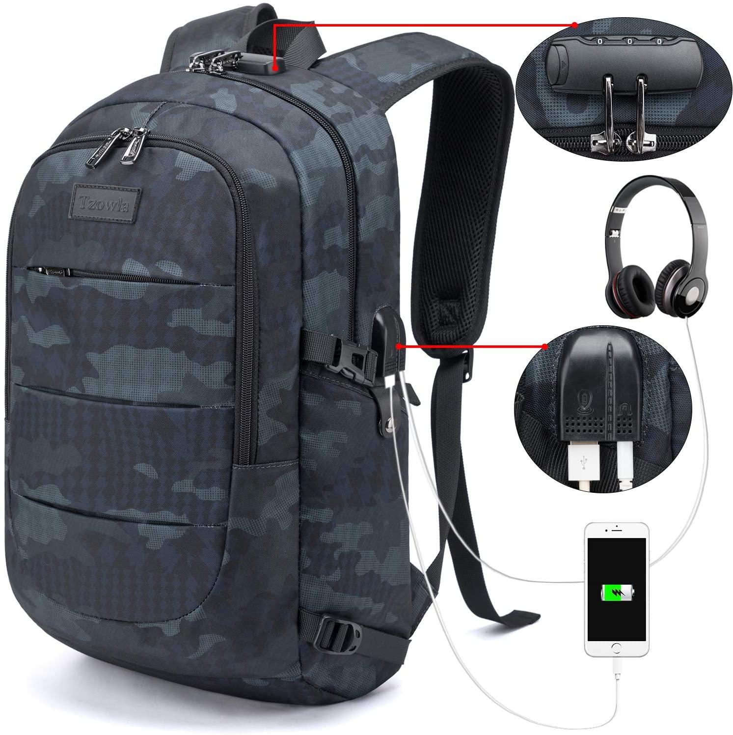 Mochila con cargador USB para dispositivos, resistente al agua.