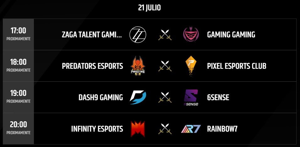 Partidos 21 Julio Torneo LLN League of Legends