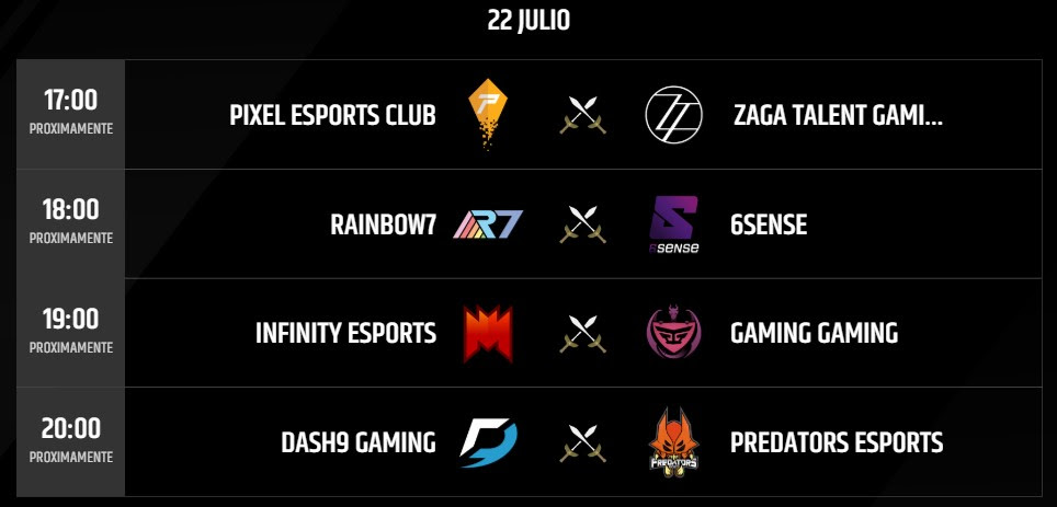 Partidos 22 Julio Torneo LLN League of Legends