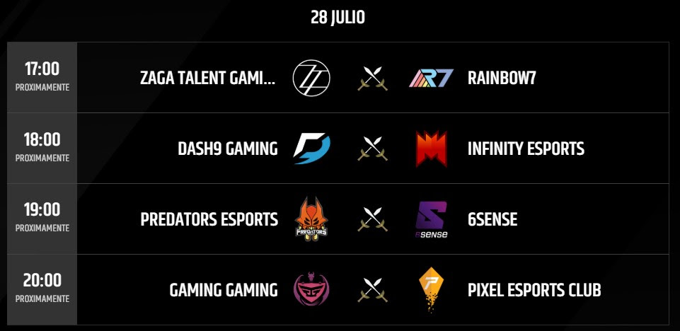 Partidas 28 julio Torneo LLN 2018 League of Legends