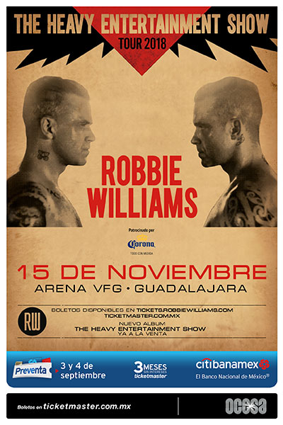 Póster Robbie Williams en Guadalajara
