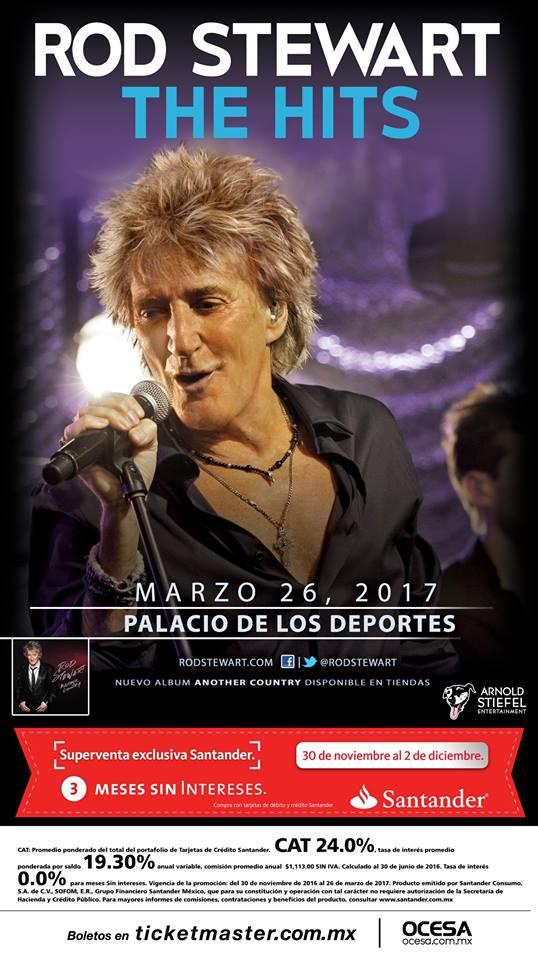 Póster oficial del concierto de Rod Stewart