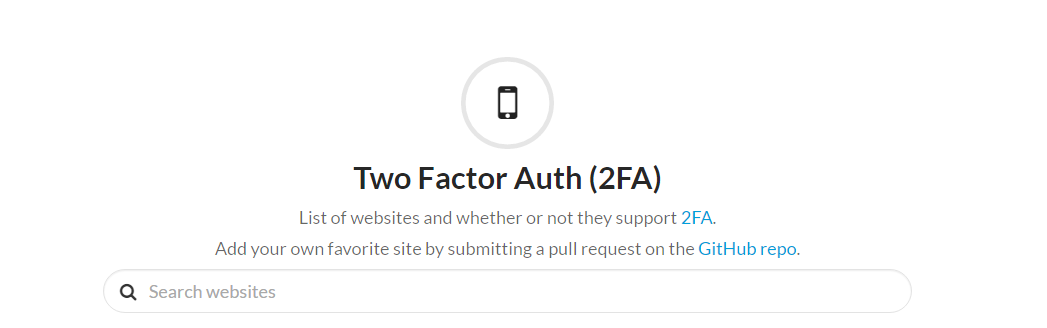 Screenshot de la interfaz de Two Factor Auth