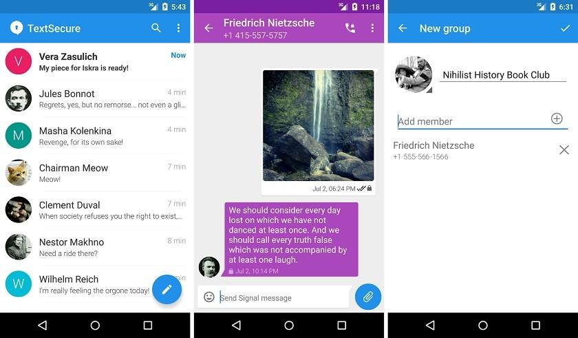 Interfaz de Signal en Android
