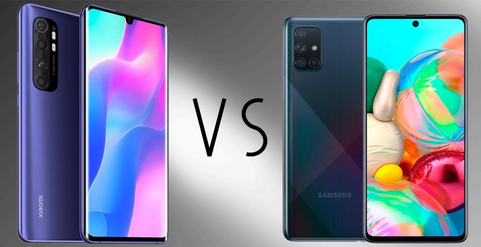 Mi Note 10 Lite vs Samsung Galaxy A71