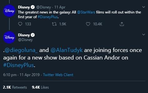 Disney Plus anuncia a Diego Luna y Alan Tudyk en serie Cassian Andor en Disney Plus
