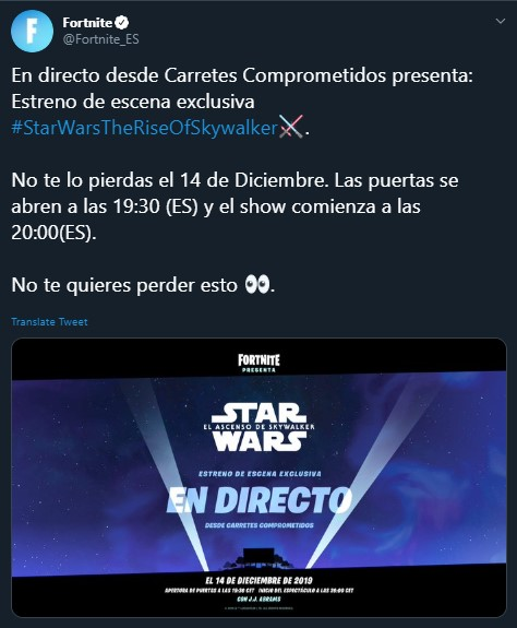 Fortnite escena Star Wars: Episodio IX