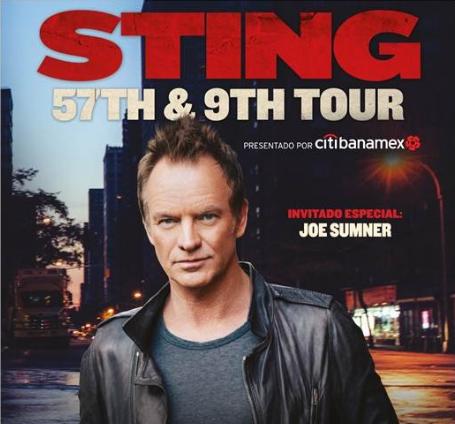 Póster oficial de la gira de Sting por México