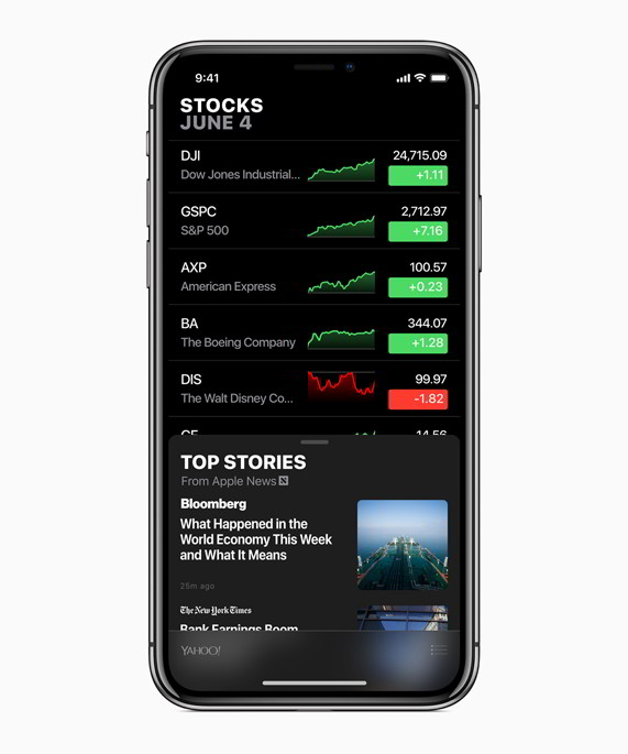 stocks ios 12