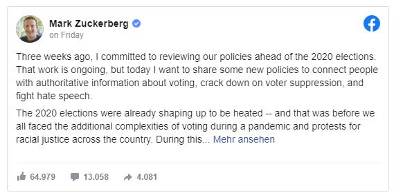 Mark Zuckerberg anunció el 26 de junio que ampliará sus nuevas políticas contra el discurso de odio.