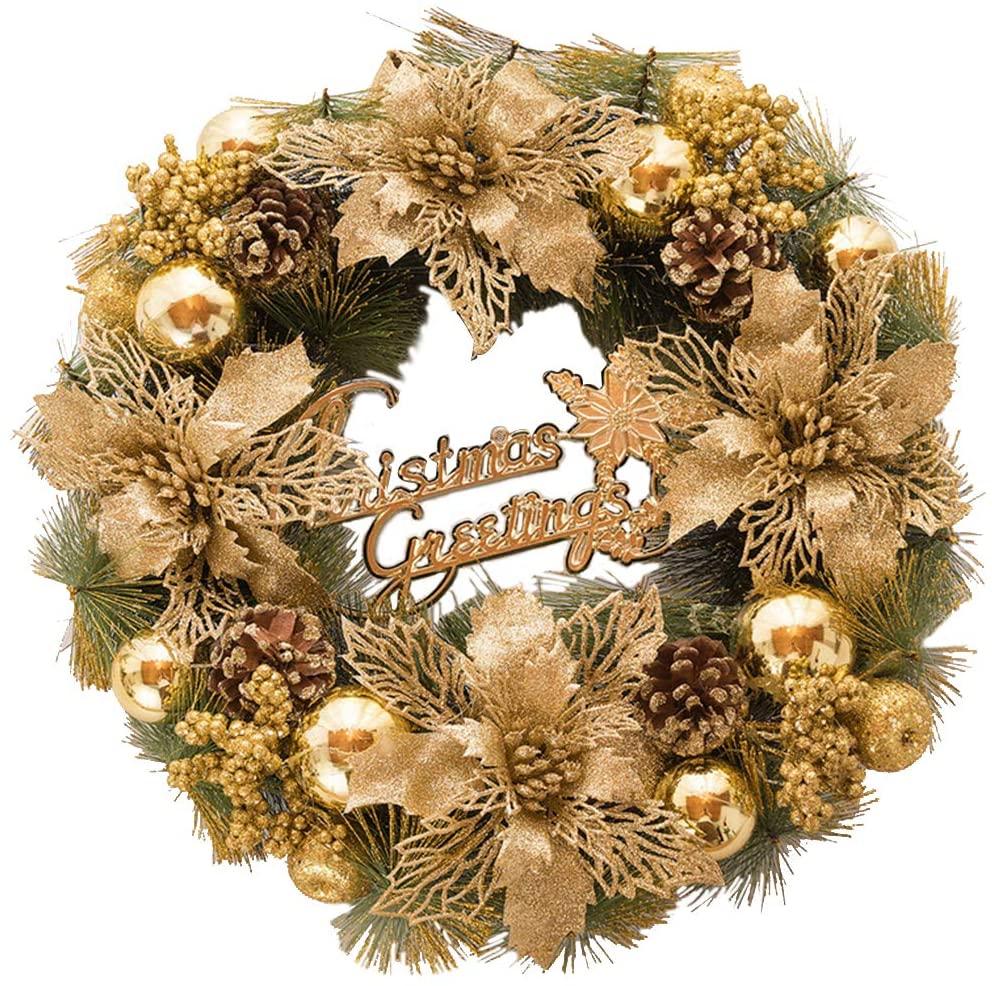 Corona de Navidad con adornos dorados en Amazon