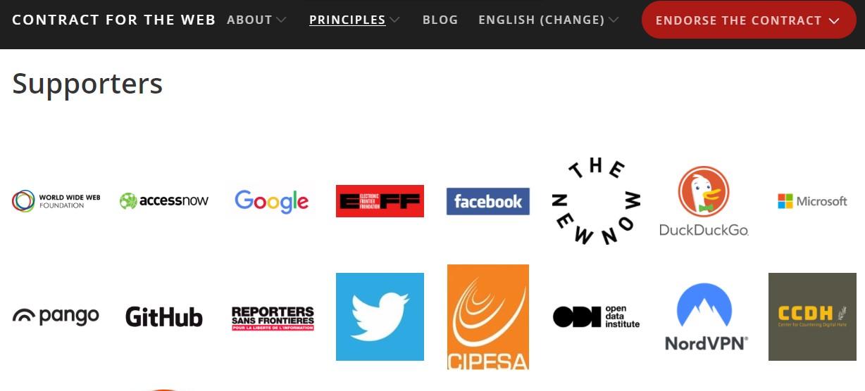 Patrocinadores del Contrato para la Web
