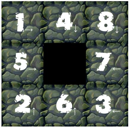 Tablero del juego Colapso de Blox Games.