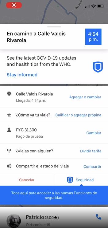 Accede a las Funciones de Seguridad en el mapa de Uber para grabar un audio de tu viaje.