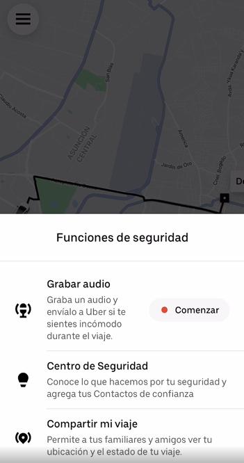 Comenzar a grabar audio en Uber