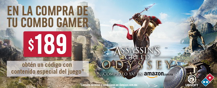 Combo Gamer Dominos Pizza regala contenido exclusivo para su título, Assasins Creed Odissey