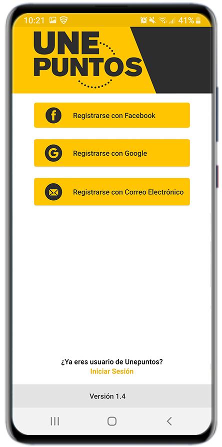 El ingreso a UNEPUNTOS y canje de puntos no consume datos. Eso sí, tendrás que registrarte con Facebook, Google o con tu correo electrónico.