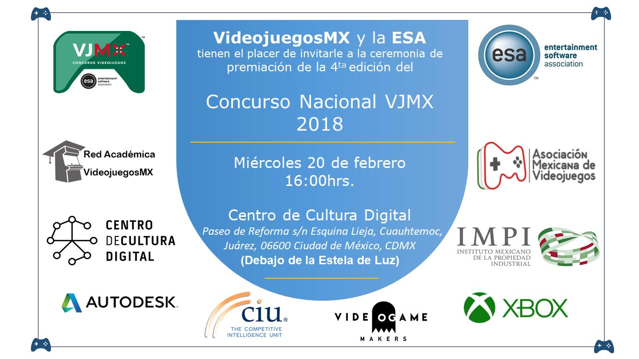 Invitación a la premiación del Concurso Nacional Videojuegos MX 2018