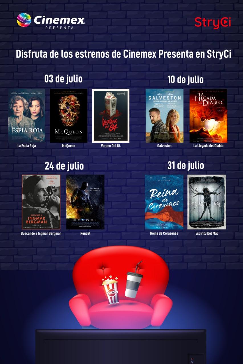 Los últimos estrenos de Cinemex llgan a la plataforma StryCi