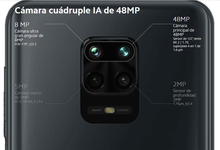 Cámaras traseras del Xiaomi Redmi Note 9S