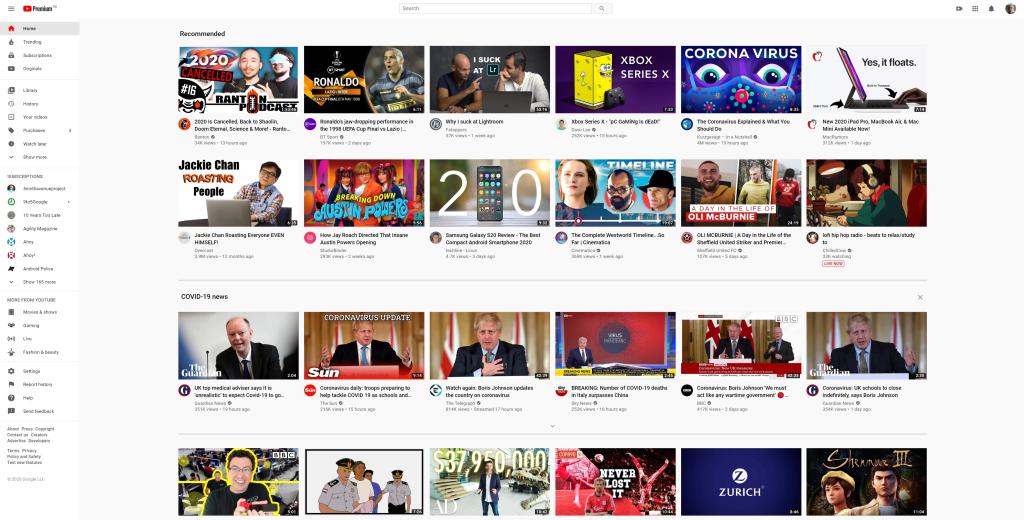 La sección de noticias de YouTube COVID-19 aparece después de la sección de videos Recomendados.